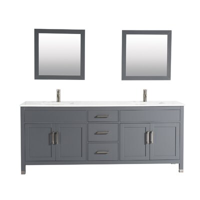 Brayden Studio Denault 84 Double Sink Bathroom Vanity Set Base Finish: Gray