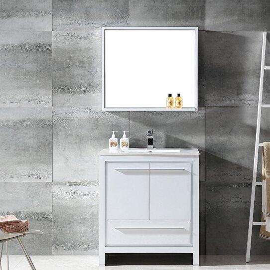 Fresca allier 30 single bathroom vanity set with mirror for Levi 29 5 single modern bathroom vanity set