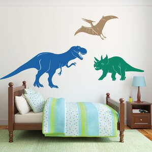 Charming 3 Piece Medium Dinosaurs Wall Decal Set Part 27