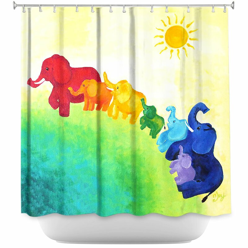 Harriet Bee Lacey Elephant Rainbow Shower Curtain & Reviews | Wayfair