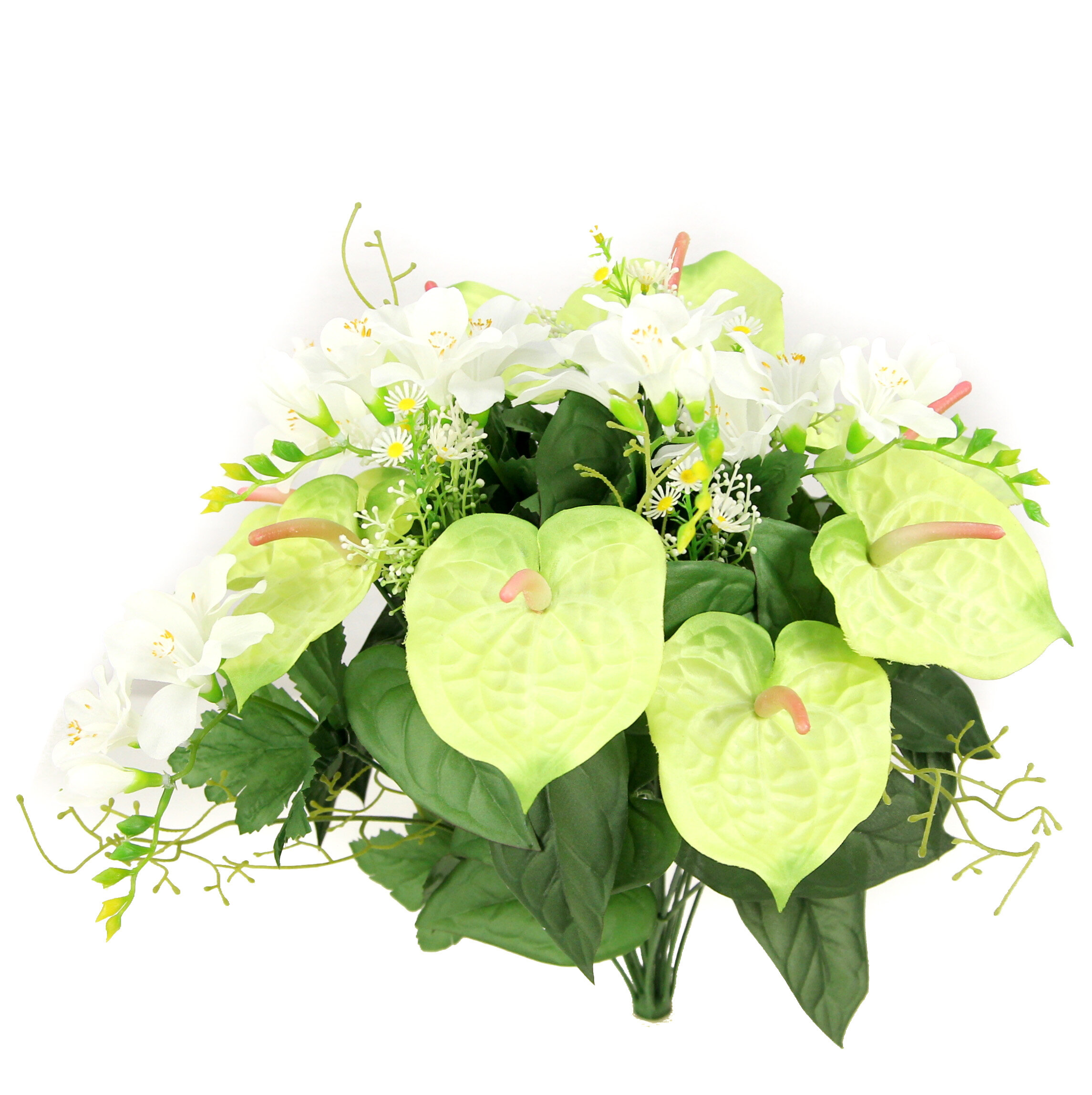 Admiredbynature Artificial Anthurium And Freesia Mixed Flowers Bush