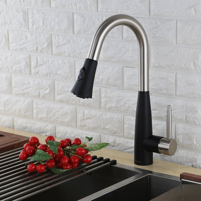 KODAEN Modern Pull Down Single Handle Kitchen Sink Faucet & Reviews ...