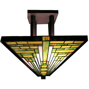 Frank Lloyd Wright 2 Light Semi Flush Mount