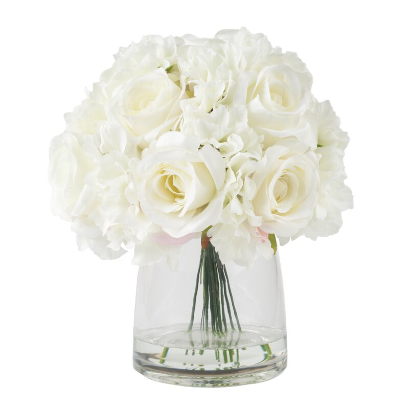 Faux Mixed White Floral Arrangement In Glass Vase