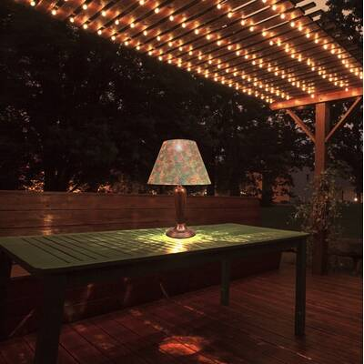 Ranson Punched Metal Outdoor Solar Led 23 Table Lamp