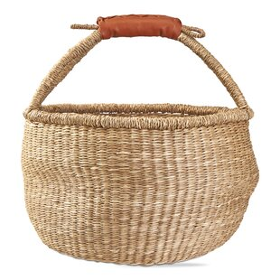 8653fdca8c Seagrass Wicker Rattan Basket with Faux Leather Handle
