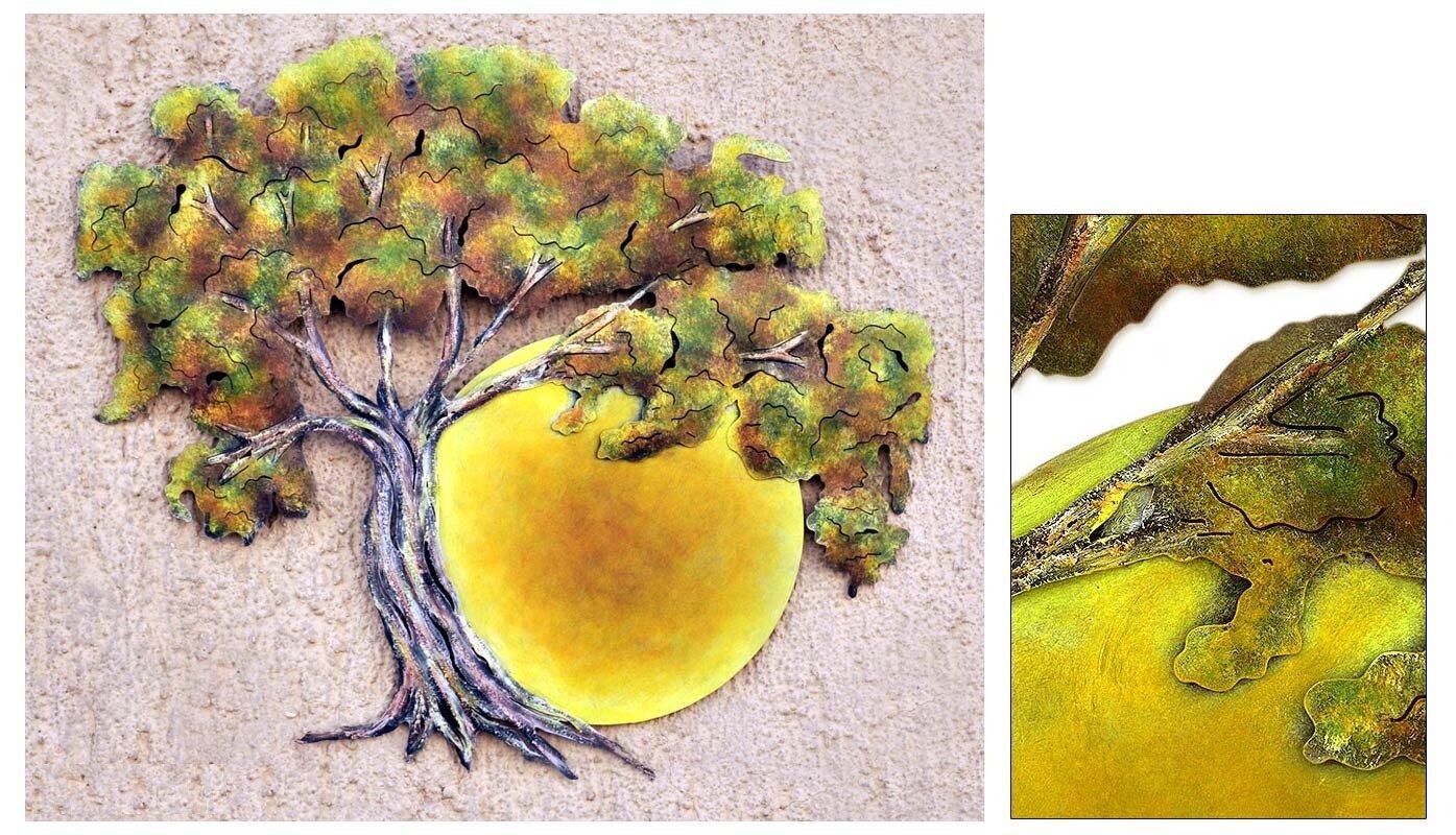 Novica Alejandro de Esesarte Collectible Hand Painted Tree Steel ...