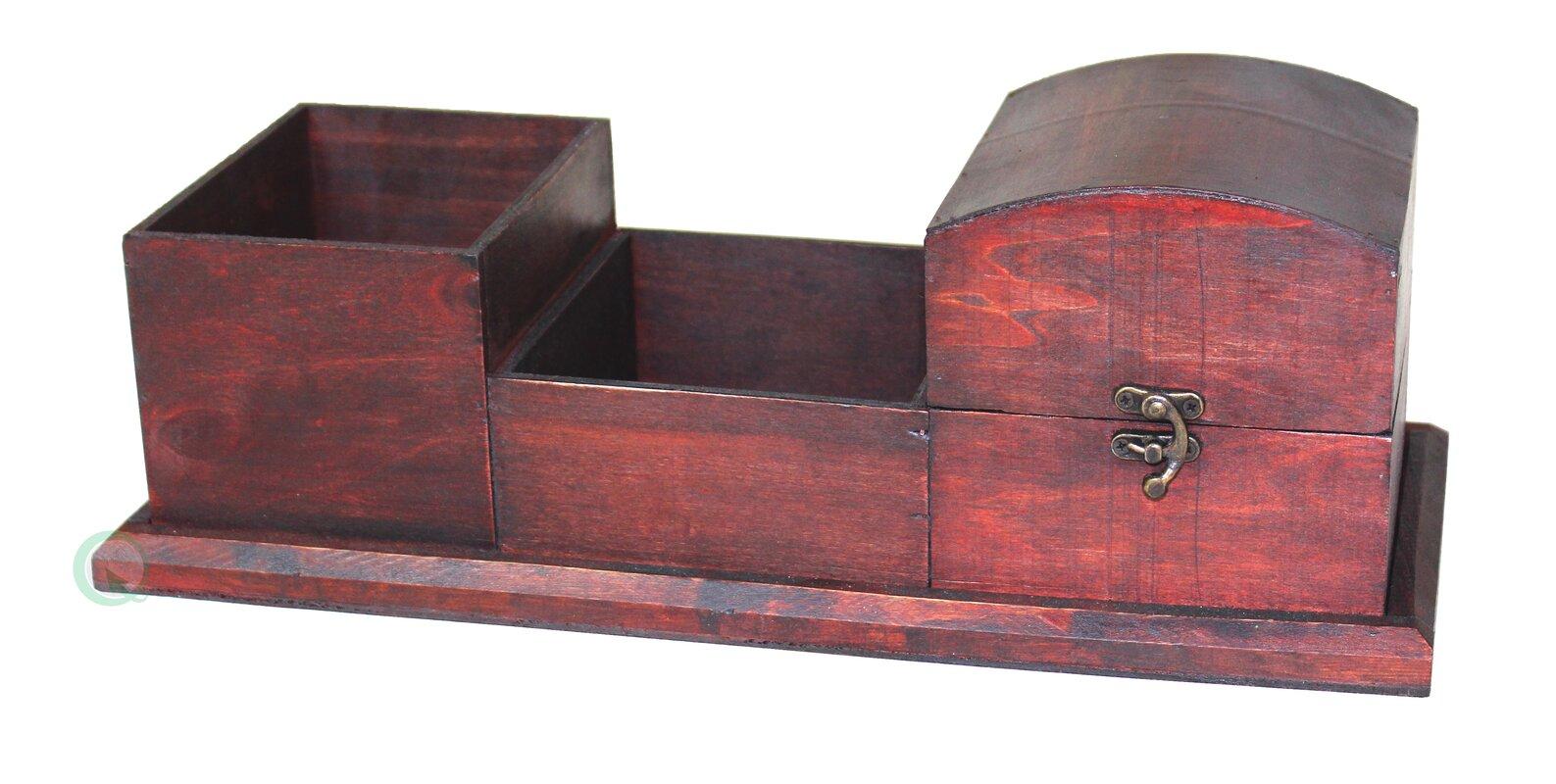 Antique Wood Desk Organizer - Quickway Imports Antique Wood Desk Organizer & Reviews Wayfair
