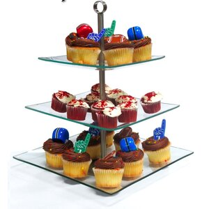 3 Tier Squared Pastry Glass Cake Stand (Set of 2)