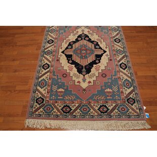 One-of-a-Kind Esquina Traditional Persian Hand-Knotted 4'4 x 6'3 Wool Blue/Ivory/Rose Area Rug Isabelline