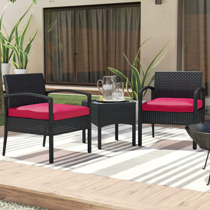 Beautiful Kobe 3 Piece Rattan Conversation Set With Cushions