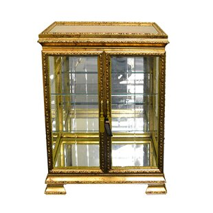 Sebastiao Leaf Painted Double Door Currio Cabinet
