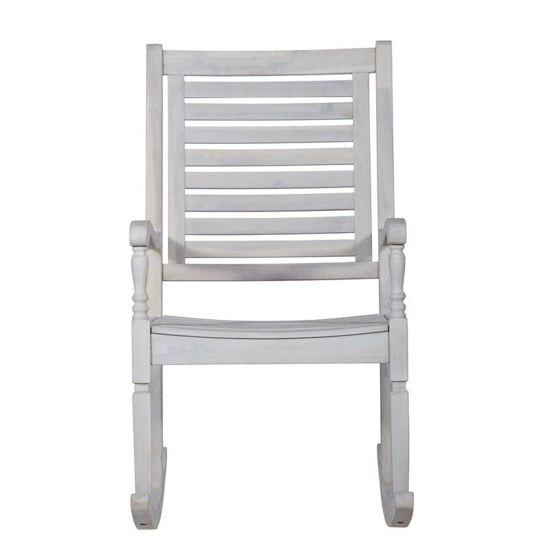 Three Posts Zinnia Solid Acacia Wood Patio Rocking Chair