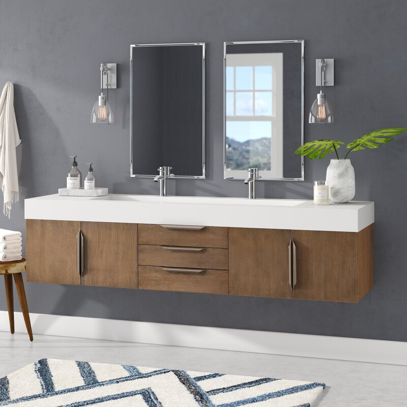 "Brayden Studio Hukill 72"" Wall-Mounted Double Bathroom ..."