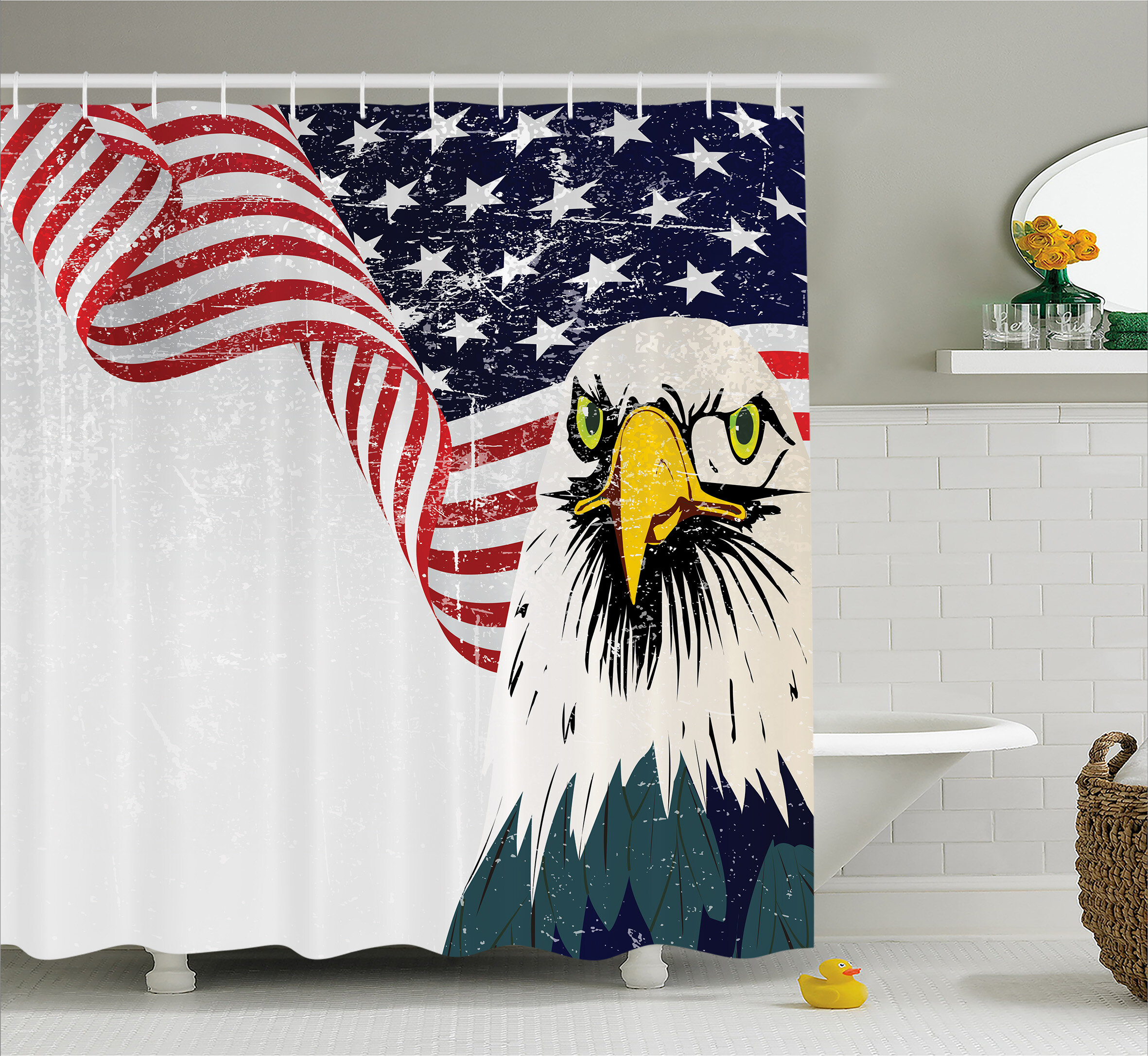 Eagle And Flag Decor Shower Curtain