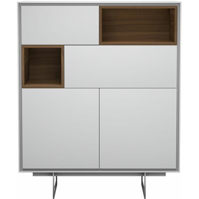 Orren Ellis Valora Highboard China Cabinet Color: White Matte