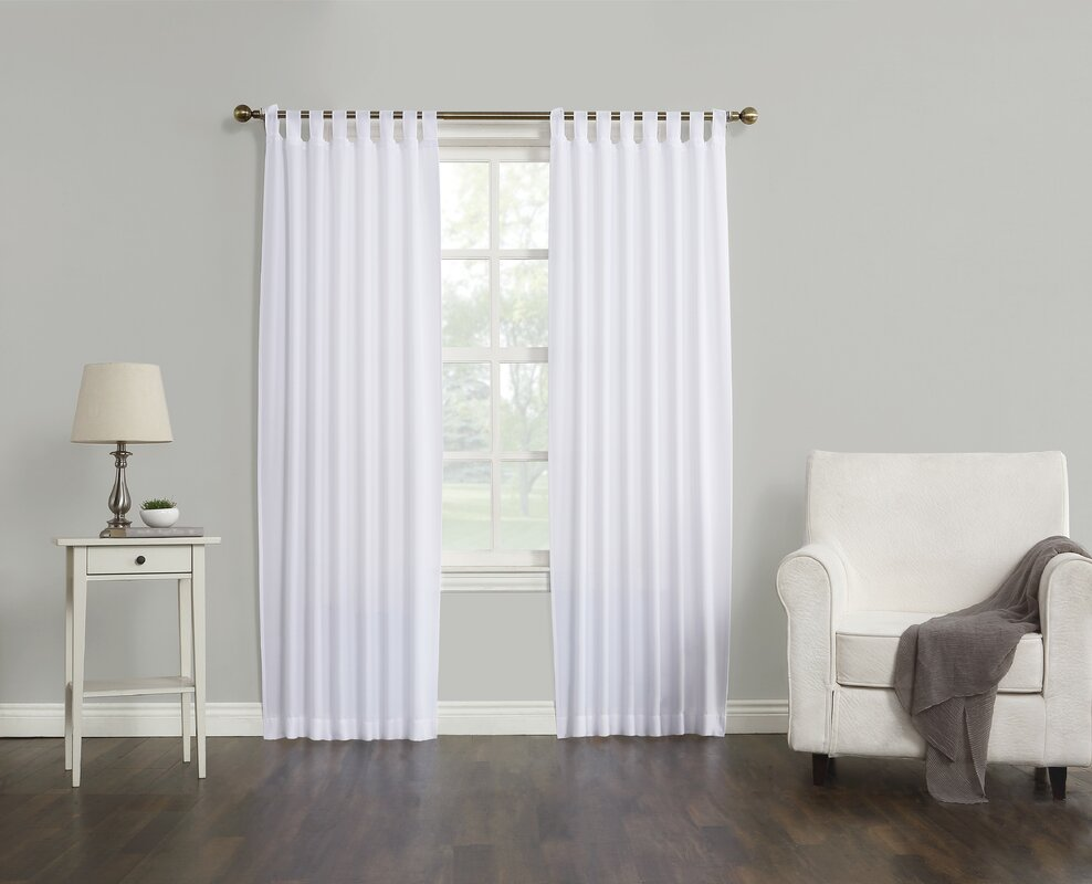 Kelvin Solid Semi-Sheer Tab Top Single Curtain Panel