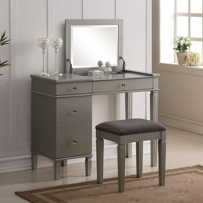 vanity desk with mirror and drawers. Balamore 2 Piece Vanity Set with Mirror Makeup Tables and Vanities You ll Love  Wayfair