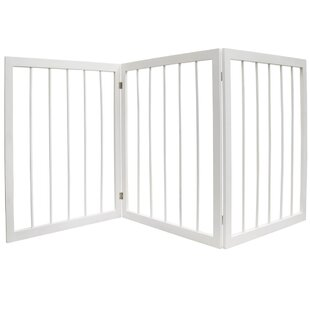 Leysin 3 Section Solid Wood Folding Pet Safety Gate by Viv   Rae