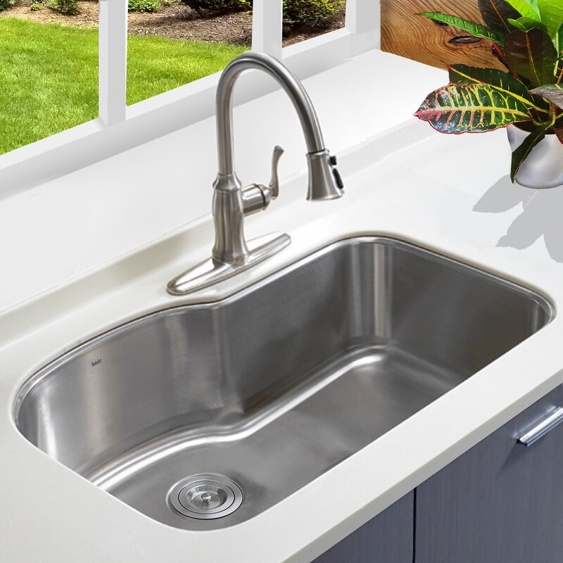 nantucket sinks single bowl oblong stainless steel 31 5 l x 20 5 w rh wayfair com best undermount kitchen sink single bowl white undermount kitchen sink - White Undermount Kitchen Sink