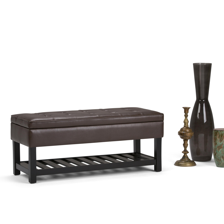 Simpli Home Cosmopolitan Entryway Storage Bench With Open Bottom &