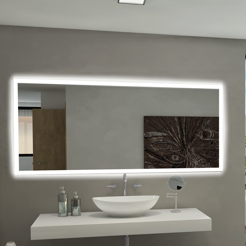 paris mirror rectangle backlit bathroom vanity wall mirror reviews rh wayfair com