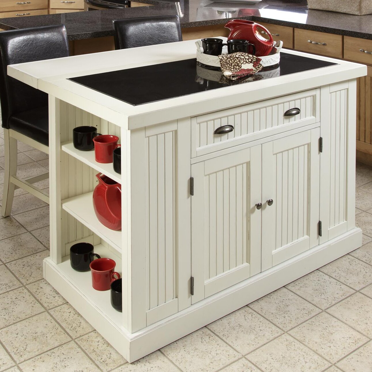 Beachcrest Home Rabin Kitchen Island with Granite Top & Reviews ...