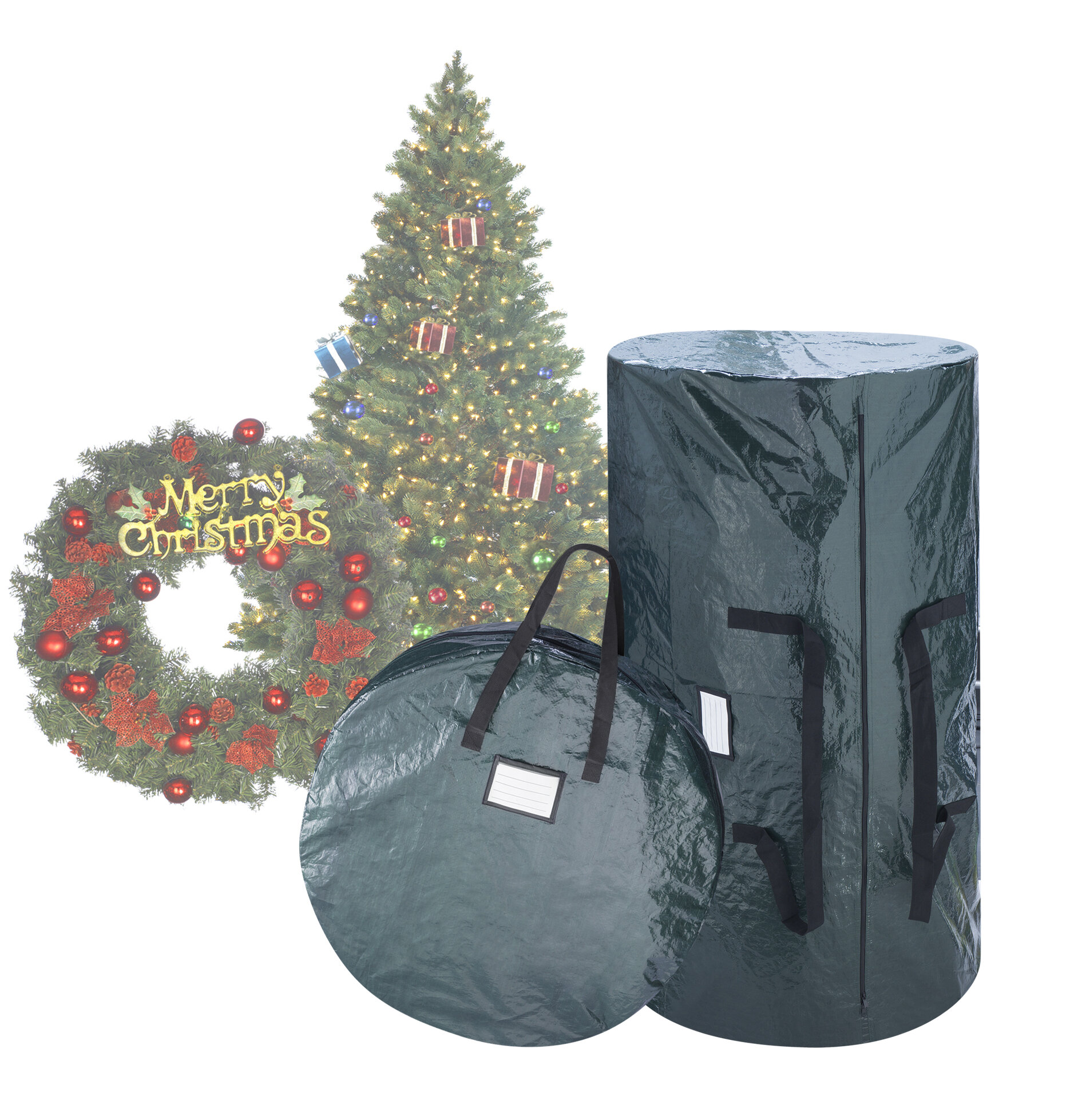 Christmas Tree Storage Bag.2 Piece Deluxe Green Christmas Tree Storage Bag Set