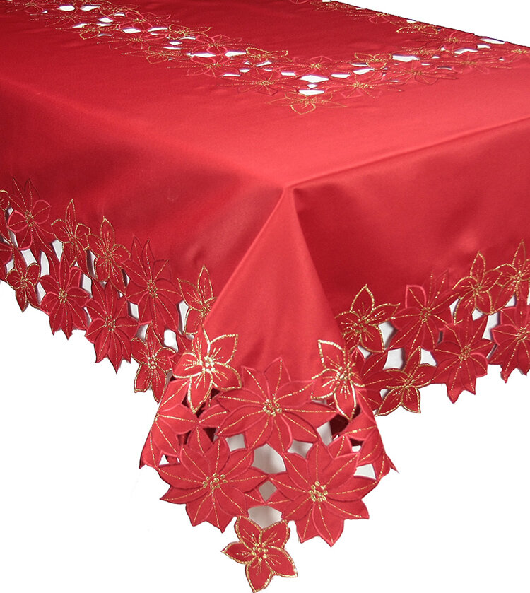 Delicieux The Holiday Aisle Festive Poinsettia Embroidered Cutwork Christmas Table  Cloth | Wayfair