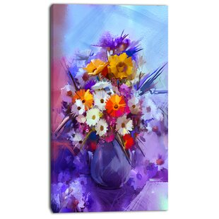 \u0027Watercolor Flowers in Purple Vase\u0027 Painting Print on Canvas  sc 1 st  Wayfair.com & Flowers In Vase Painting | Wayfair