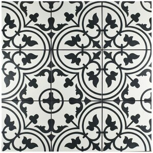 black and white tile floor. Artea 9 75  x Porcelain Field Tile in Black White Floor You ll Love Wayfair