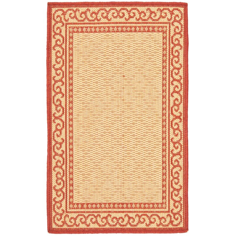 Alcott Hill Bexton Natural/Red Indoor/Outdoor Area Rug, Size: Rectangle 18 x 28