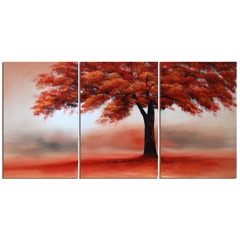 Red Tree In Solitude 3 Piece Painting On Wrapped Canvas Set