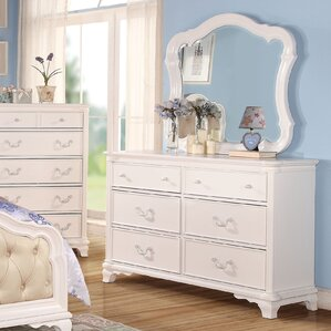 Scaife 6 Drawer Double Dresser with Mirror by Harriet Bee