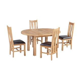 Venita 5 Piece Extendable Solid Wood Dining Set