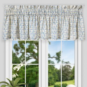 Breckan Ikat Check Tailored 80″ Curtain Valance