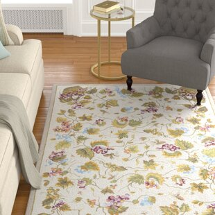 Olson Hand Hooked White Area Rug