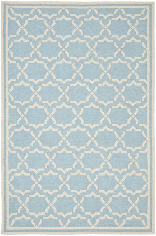 dhurries light blueivory area rug