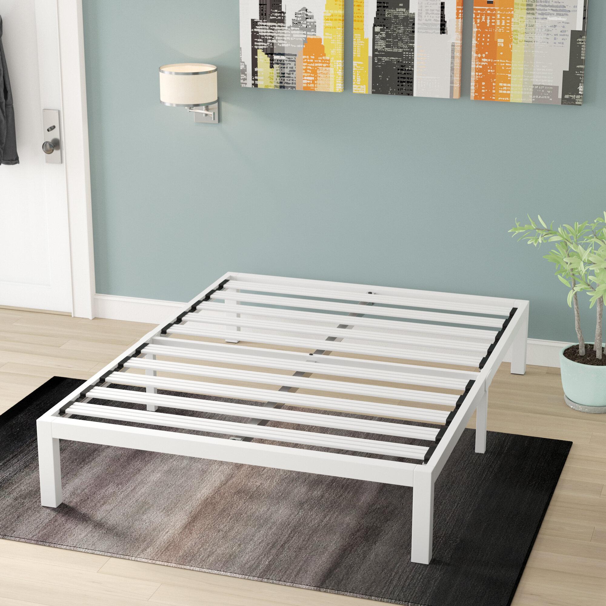 finest selection 6af21 09d07 Hukill White Metal Platform Bed Frame