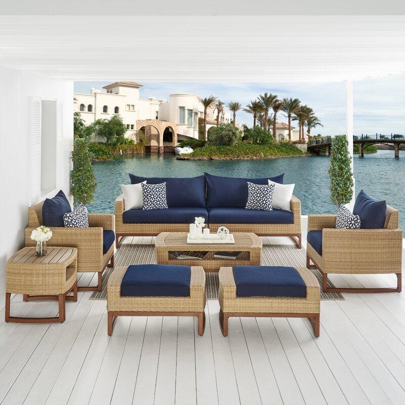 Sunbrella Navy Loveseat: Bayou Breeze Addison 8 Piece Sunbrella Sofa Seating Group