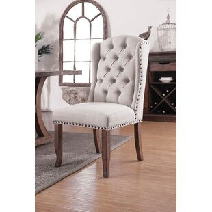 upholstered tufted dining chairs rustic farmhouse dining myrna button tufted wingback fabric upholstered dining chair set of 2 wayfair