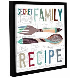 'Family Recipe' Framed Textual Art on Wrapped Canvas