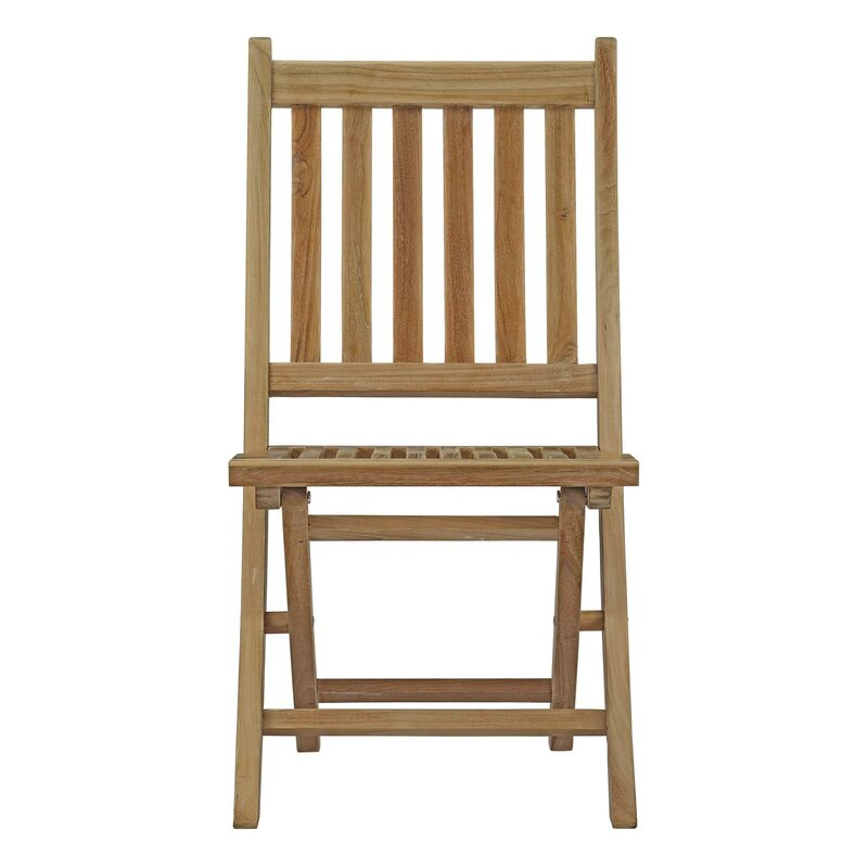 belle glade outdoor solid teak wood padded folding chair