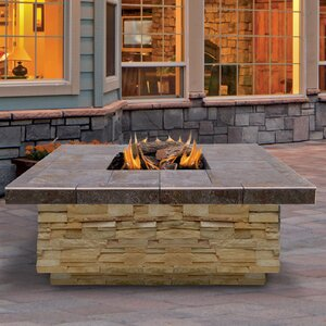 Natural Stone Steel Propane Fire Pit Table