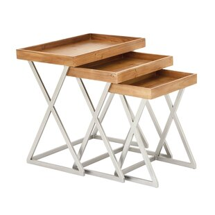 3 Piece Metal And Wood Tray Table Set