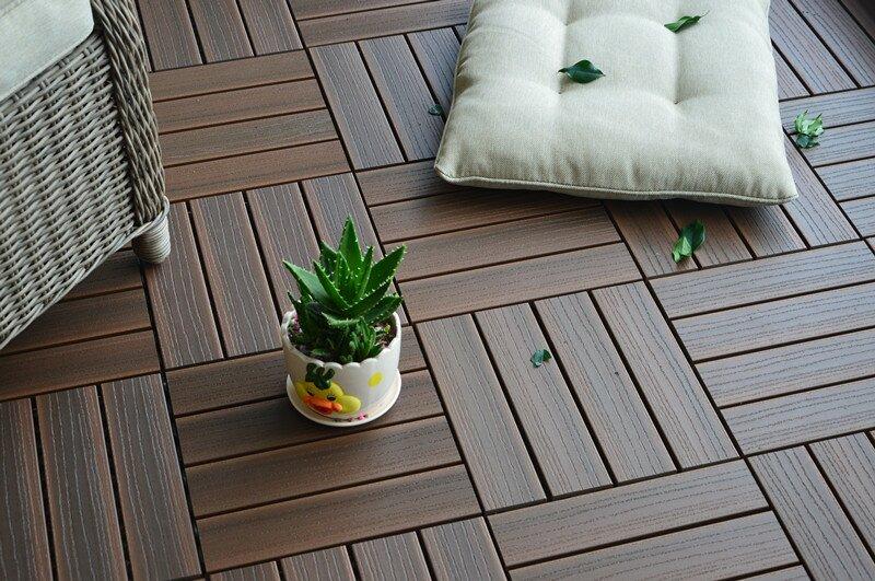 Vifah Composite Walnut 12 X Interlocking Deck Tiles Reviews Wayfair