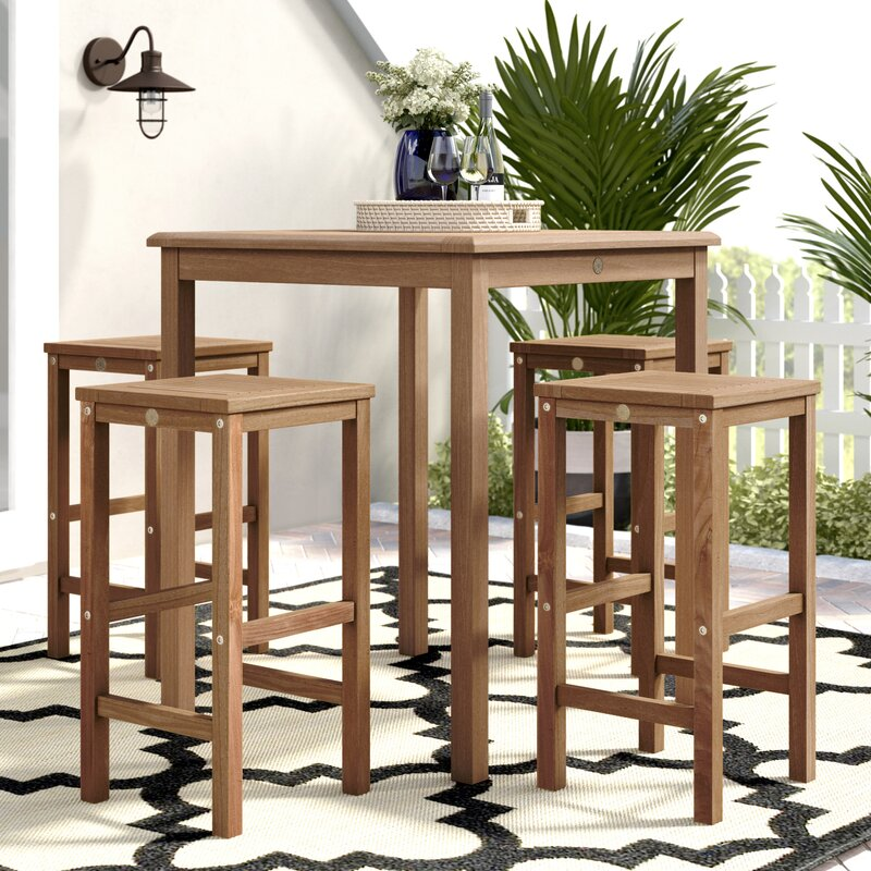 Beachcrest Home Elsmere Patio 5 Piece Teak Dining Set with Cushions