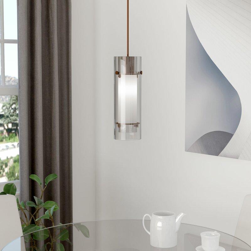 Yess Bathroom Lights orren ellis fennia 1-light cylindrical mini pendant & reviews