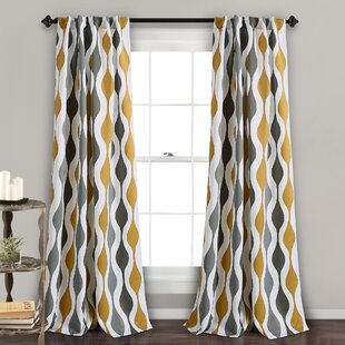 Crowder Mid Century Geo Geometric Room Darkening Rod Pocket Curtain Panels Set Of 2