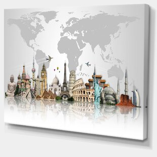 U0027Famous Monuments Across Worldu0027 Graphic Print On Wrapped Canvas In Grey. By  Design Art